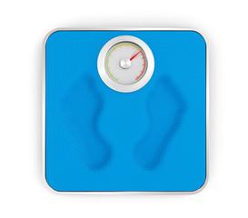 Waage mit deutlichem Übergewicht (Fussabdruck)