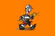 pompier feu orange