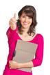 Frau mit Bewerbungshefter zeigt Top-Daumen