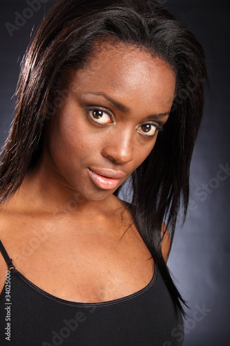 Beautiful young african american woman big eyes