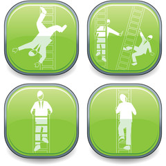 Green symbolised business lozenges-ladder