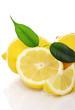 Fresh yellow lemons on white background