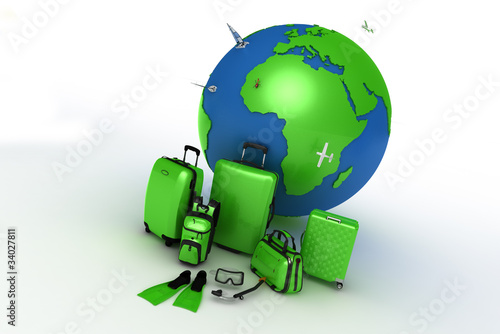 3d green bag with greenplanet earth