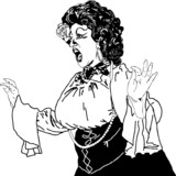 black and white drawing of a woman singing actress whiling away