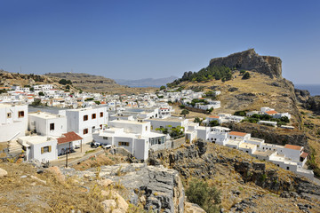 View over iconic town and Acropolis of Lindos