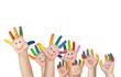 Leinwanddruck Bild - mehrere bemalte Kinderhände