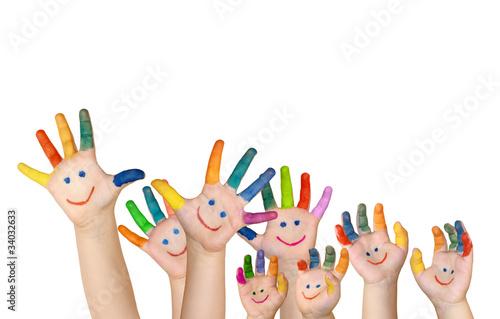 Leinwanddruck Bild mehrere bemalte Kinderhände