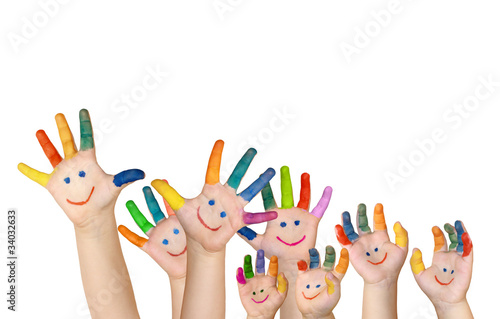 Leinwandbild Motiv mehrere bemalte Kinderhände