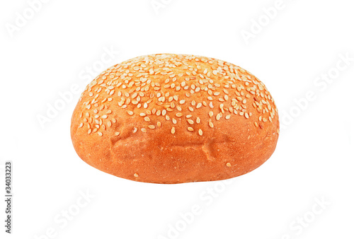 Bun with sesame, isolated on white background