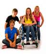 vier teenager rollstuhl