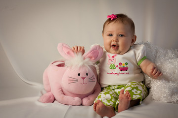 Baby Smiling with Bunny Easter Basket