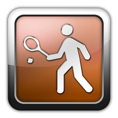 "Bronze Glossy Square Icon ""Tennis"""