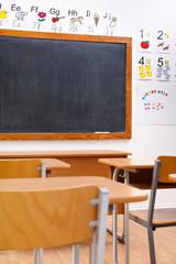 Empty, decorated elementary classroom