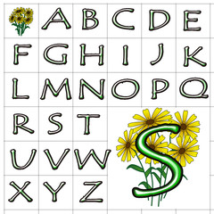 ABC Alphabet background yellow tempus green design