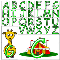 ABC Alphabet background comic green design