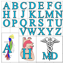 ABC Alphabet background medical blue design