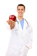 Doctor with Apple (Focus on Face)