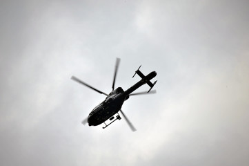 Police Helicopter hovering above EDL Demonstration in Halifax