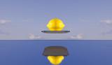 yellow lemon levitation on mirror collage poster