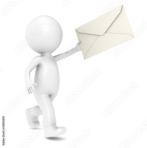 3D Little Human Character Running with an Envelope