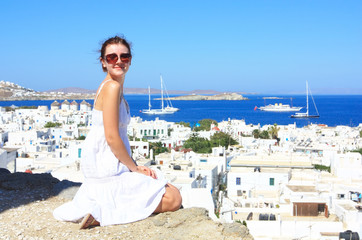 tourist in mykonos isalnd