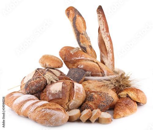 composition de pains sur fond blanc