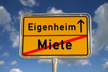 Deutsches Ortsschild Miete Eigenheim
