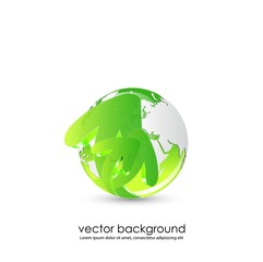 green globe with 3d arrows vector