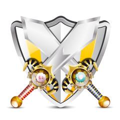 vecteur, épées et bouclier