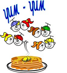 yum yum pancakes illustration in retro style