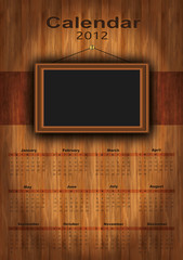 2012 calendar wood vector, photo frame for your photos,