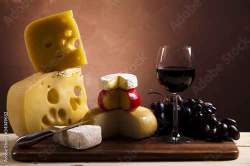 Cheese and red wine