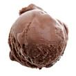 Eine Kugel Eis dunkle Schokolade auf weißem Hintergrund