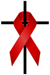 Red Ribbon HIV 3D & Cross