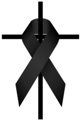 Black Ribbon Dolor 3D & Cross