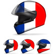 set of france motorcycle helmet isolated on white background