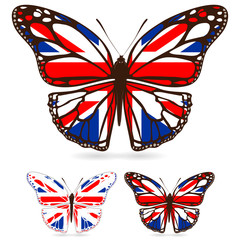 set of uk butterfly isolated on white background