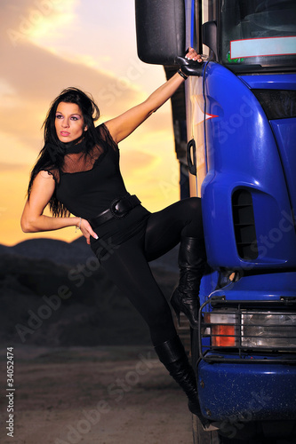 brunette, driver, evening, highway, logistic, transport, truck