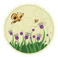 Flores roxas e borboletas.