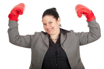 overweight, fat businesswoman in boxing gloves, series