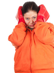 overweight, fat woman in red boxing gloves