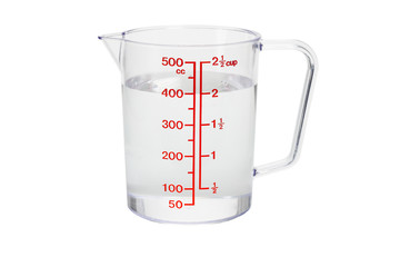 Plastic kitchen measuring cup filled with water