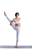 beauty woman exercise yoga in white isolated