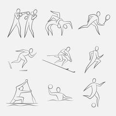 Line-Art Sports Figures