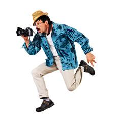 runnig man with camera