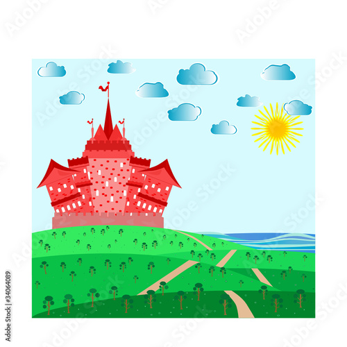 Foto op Aluminium Kasteel Fairytale landscape with red magic castle. vector