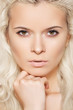 Alluring model face with naturel daily make-up, blond hair