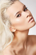 Beauty model face with naturel daily make-up, blond hair