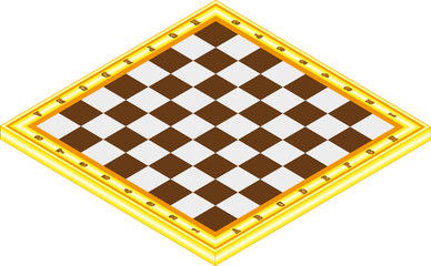Empty chessboard isolated on white, with clipping path