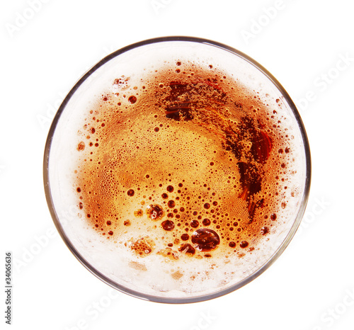 Glass of beer, top view,Isolated on white background - 34065636